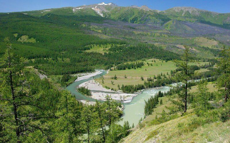 zwei Flüsse und Wälder im Altai